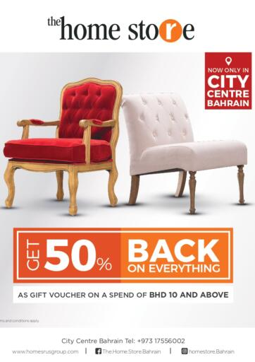 Bahrain Home Store offers in D4D Online. Get 50 % Back on Everything   @ The Home Store on all furniture & home accessories including new arrivals. Get 50 % Back on Everything   @ The Home Store on all furniture & home accessories including new arrivals. This offer is valid until 07th November 2020!! Enjoy Shopping!!. Till 07th November