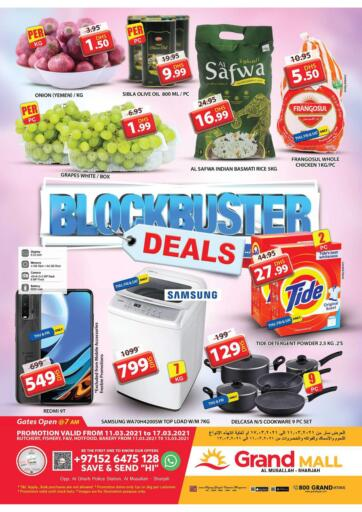 UAE - Sharjah / Ajman Grand Hyper Market offers in D4D Online. Al Musallah - Sharjah. Choose The Best At Best Price. Rush Now To Grand Hypermarket At get Offers On Groceries.Fruits, Vegetables.Home Needs, etc And Many More. Offer Valid Till 17th March 2021.  Enjoy Shopping!!!. Till 17th March